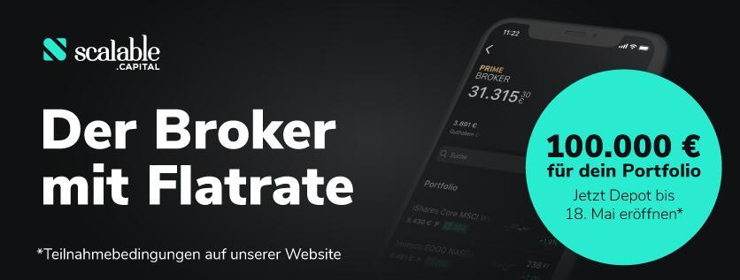 Scalable Capital 30€ Shoop Cashback für Neukunden + 100.000€ gewinnen Neu- & Bestandskunden