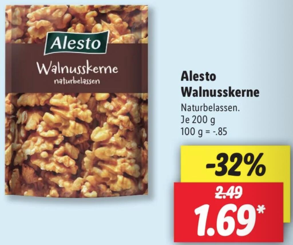 [Lidl/Bundesweit] Alesto Walnusskerne 200g für 1,69€ ab 10.05.2021