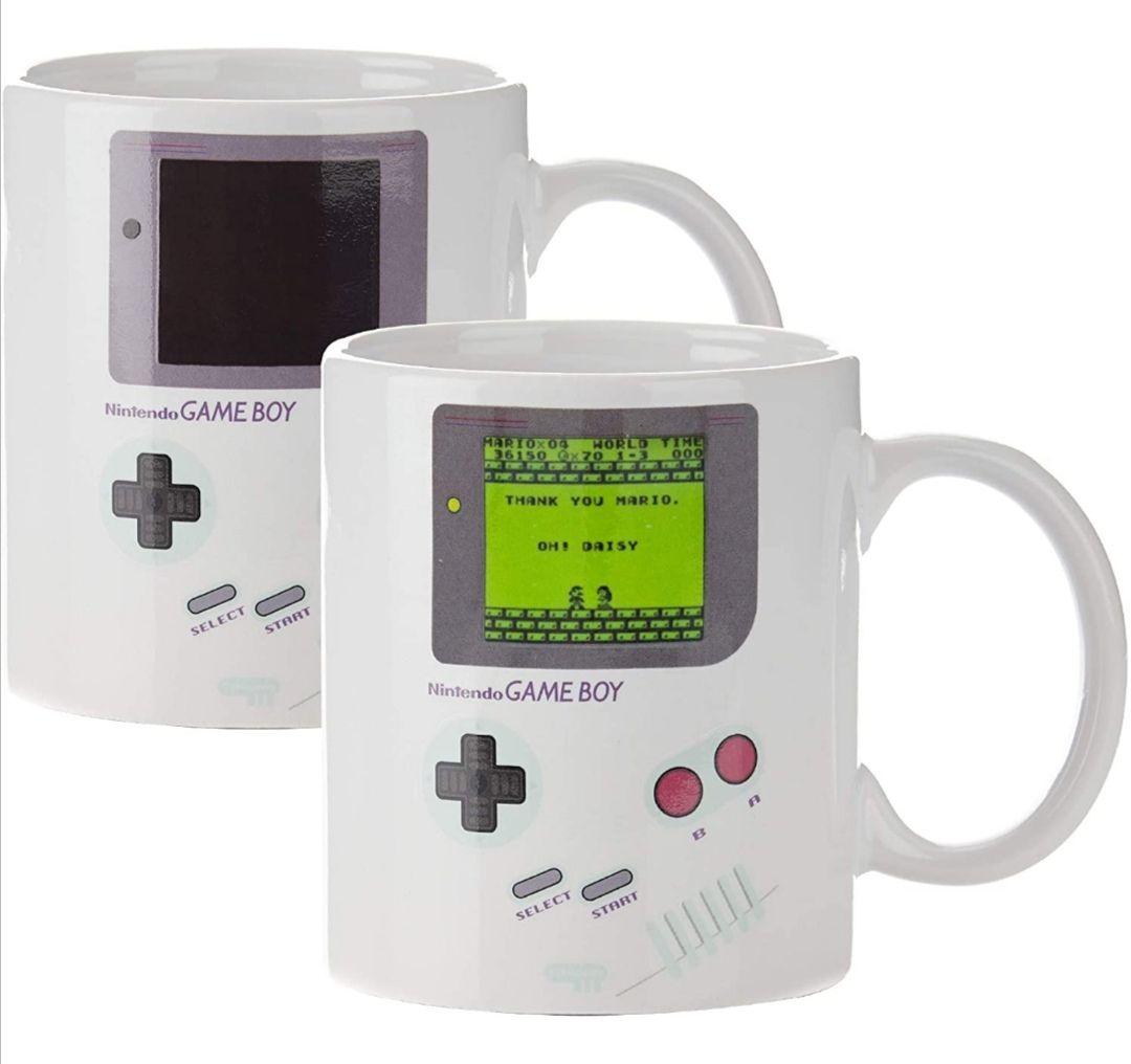 Nintendo Game Boy Thermoeffekt Tasse Super Mario, 300ml, Keramik, weiß, Versand mit Prime kostenlos