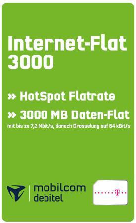 Mobilcom-debitel: 3000 MB Datenvolumen + HotSpot Flat im Telekom Netz