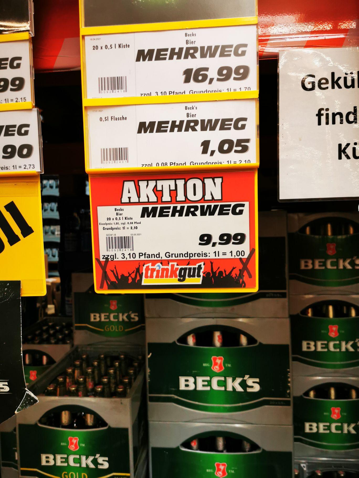 Becks Pils 0,5 Liter Kasten Lokal Düsseldorf Reisholz Trinkgut