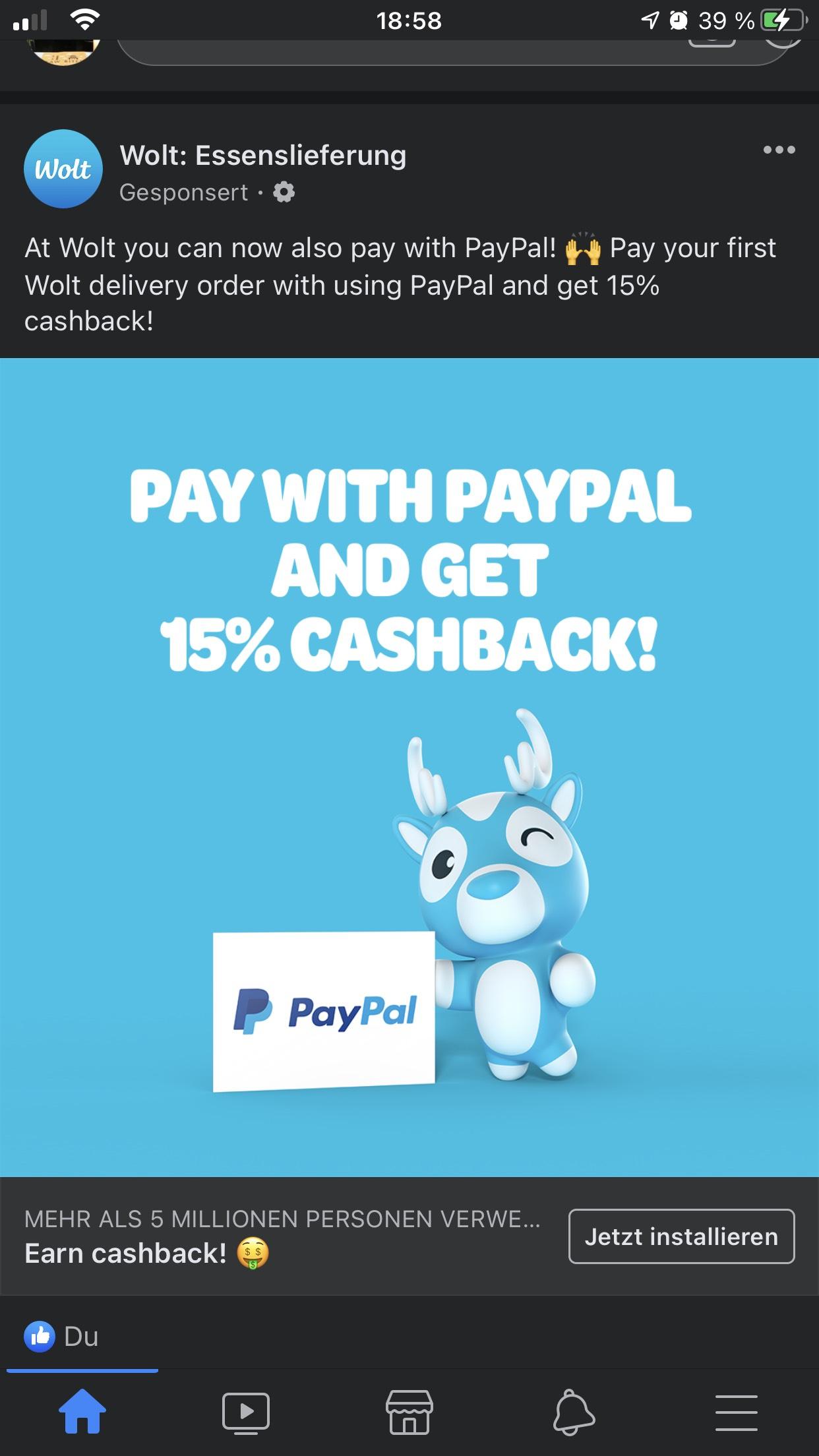 -15% bei Wolt bei erstmaliger Bestellung & Zahlung via Paypal +6€ KwK on top möglich!