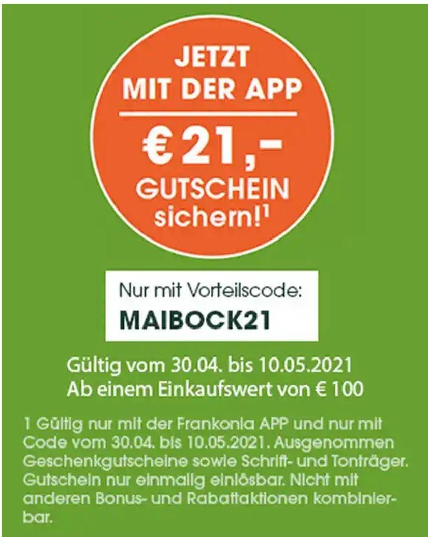 Frankonia 21€ Gutschein ab 100€ MBW mit App