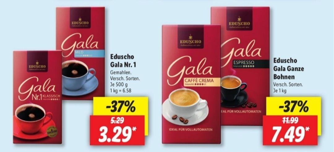 Eduscho Gala Nr.1 gemahlen 500 g für 3,29€ statt 5,29 UND Eduscho Gala Ganze Bohnen 1 Kg für 7,49€ statt 11,99€ ab 12.05 Lidl
