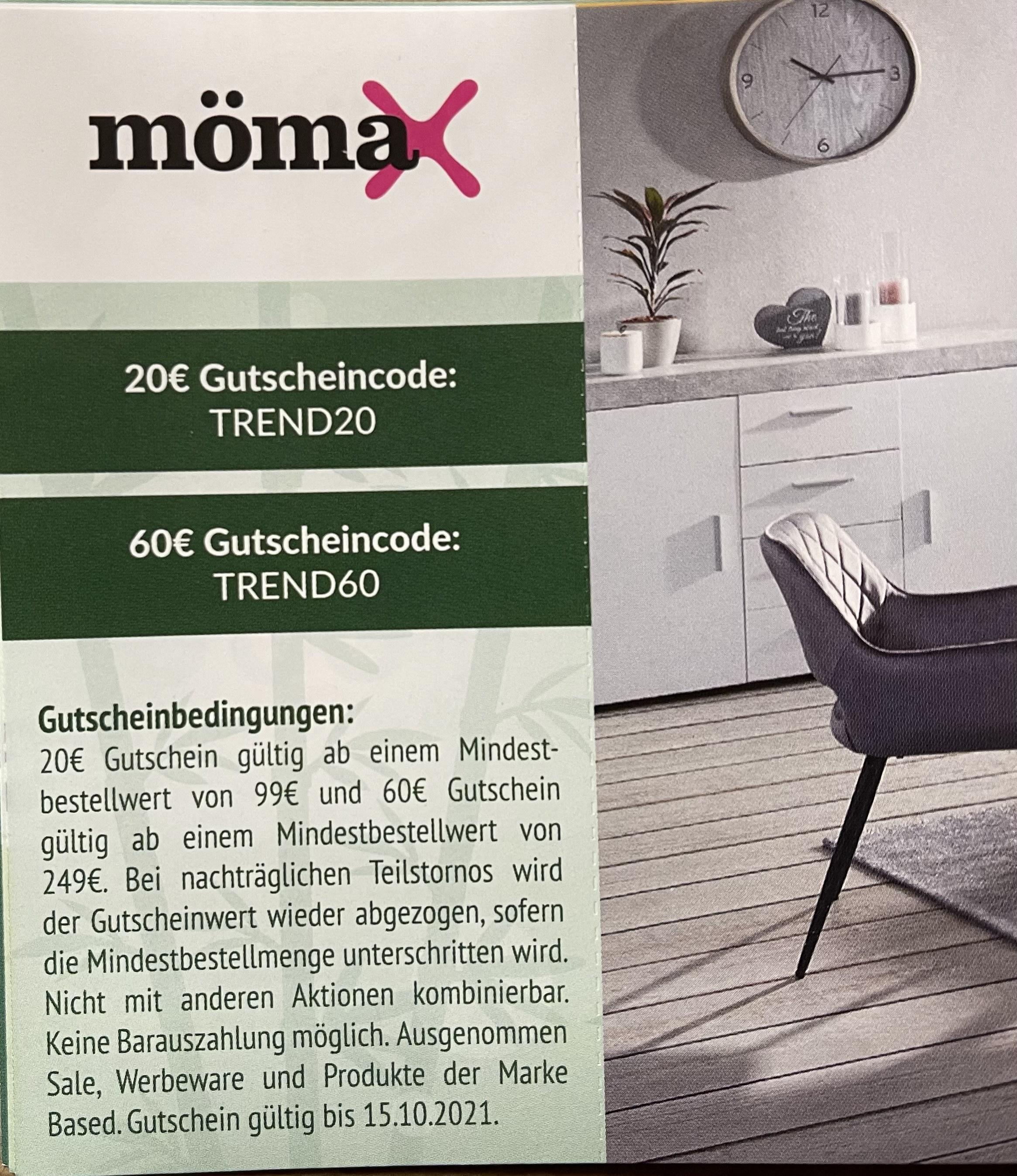 Mömax -20€ ab 99€ & -60€ ab 249€
