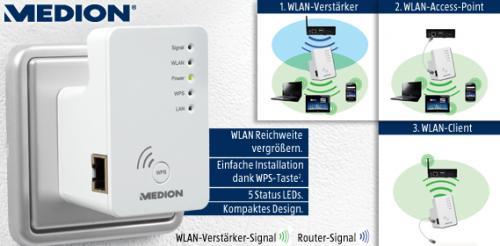 [Aldi-Süd]  Wireless-LAN-Verstärker MEDION® P85250