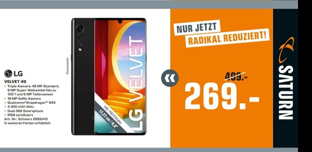 [Saturn] LG Velvet 4G Smartphone Dual Sim für 259€