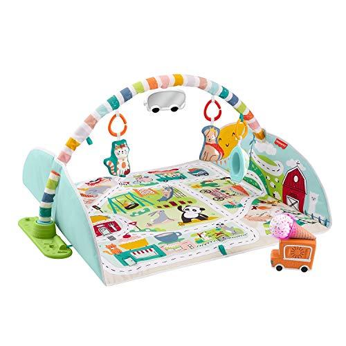 [prime] Fisher-Price GJD41 - Jumbo Abenteuer Spieldecke mit Spielzeug, Babyausstattung ab Geburt