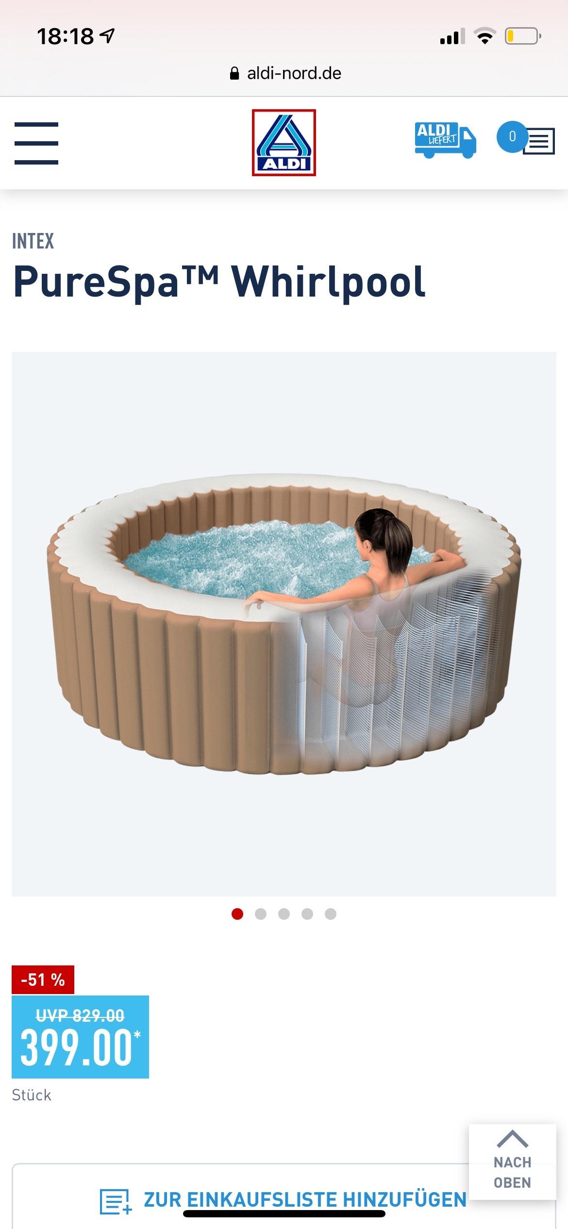 Intex PureSpa Whirlpool ab 12.05 bei Aldi Nord