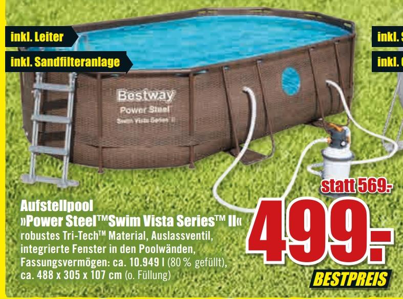 [Lokal B1 Baumarkt] Bestway Power Steel Vista Oval Pool Set 488x305x107 Rattan (56946)