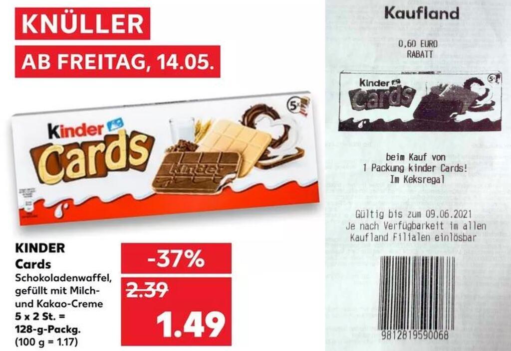 Kinder Cards 128g für 0,89€ (Angebot+Coupon) [Kaufland ab 14.05.21]