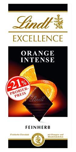 [Amazon Prime] Lindt Excellence Orange Intense, feinherbe Schokolade mit Orangen- und Mandelstückchen, 100g