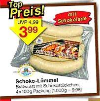 Schoko-Lümmel - Bratwurst mit Schokostückchen 4x100g