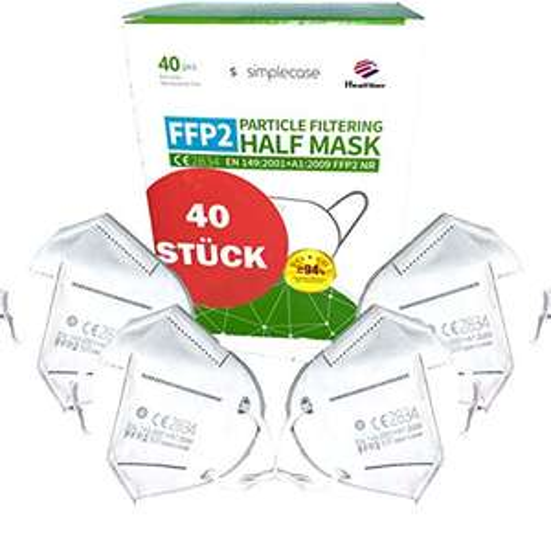 Simplecase 40 Stück FFP2 Maske, CE Zertifiziert von offiziell benannter Stelle CE2834, Atemschutzmaske, Partikelfiltermaske