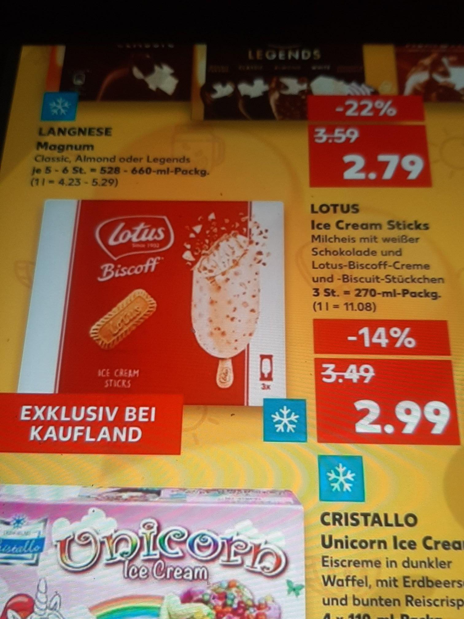 Lotus Ice Cream Sticks Biscoff Kekseis mit Weißer Schokolade nur 1.99€ mit Coupon.
