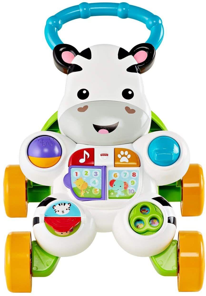 Fisher-Price DLD94 - Zebra Lauflernhilfe Lauflernwagen mit Musik und Lichtern lehrt Buchstaben und Zahlen [Prime]