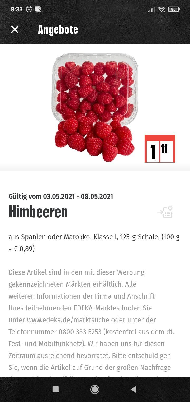 3 Pack Himbeeren 125 g für 3,33 Euro bei Edeka/Marktkauf/Dank Scoondo und Coupies insgesamt 2,22 Euro Erstattungf
