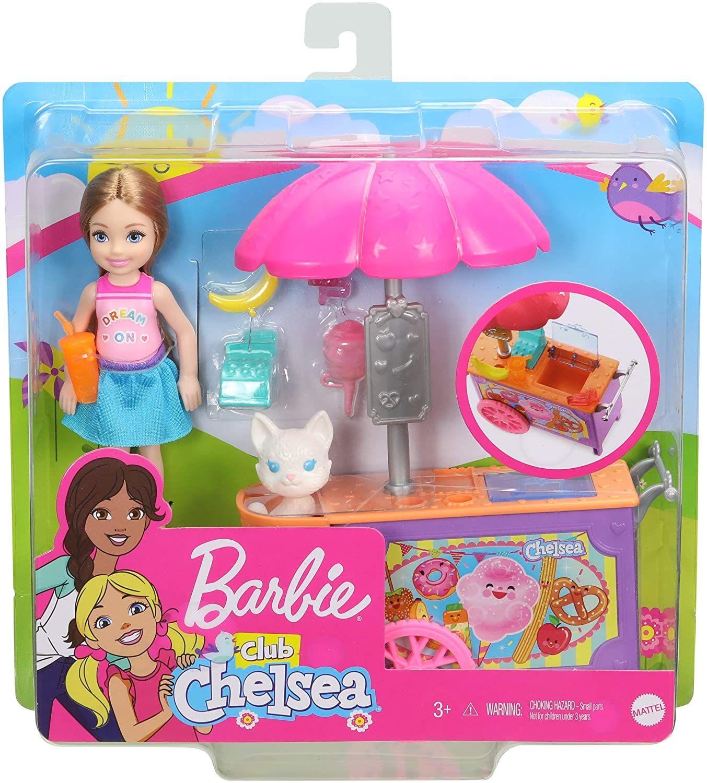 Barbie GHV76 - Club Chelsea Imbisswagen Spielset mit Puppe (blond), Tier und Zubehörteilen, Spielzeug ab 3 Jahren [Prime]