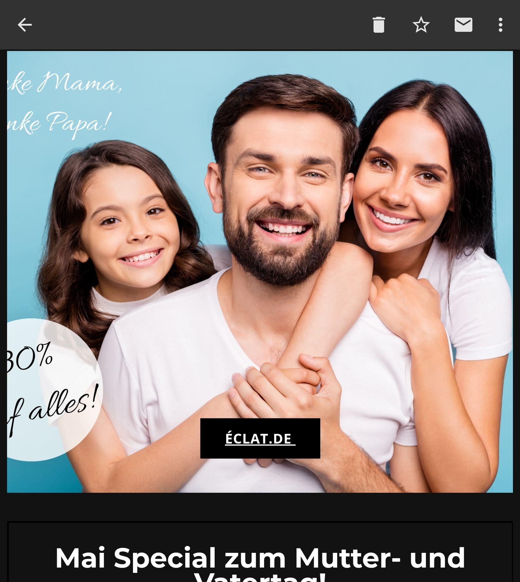 Eclat.de 30% Muttertagsrabatt auf ALLE Düfte (eventuell 50% möglich)