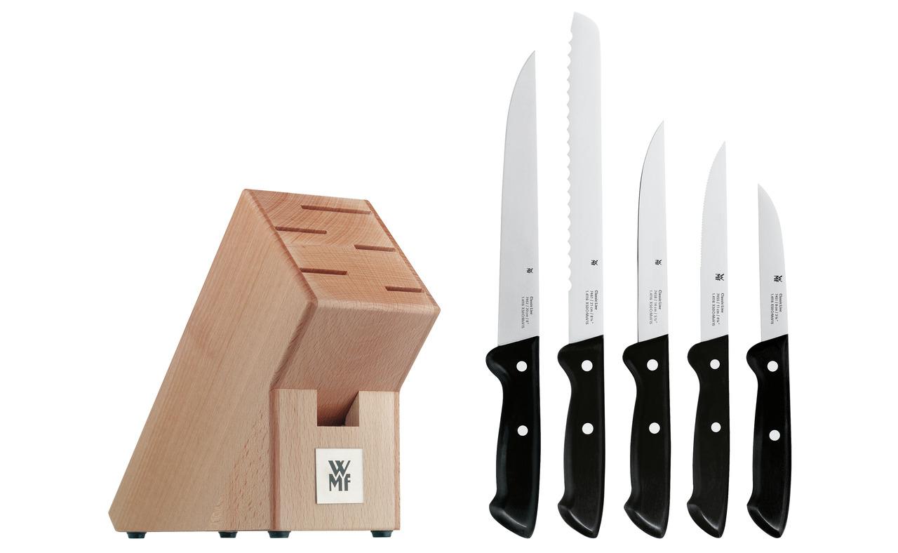 WMF Classic Line Messerblock mit Messerset 6-teilig, bestückt, 5 Messer, 1 Block aus Birkenholz / Abholung 49,99€ / inkl. Versand 53,94€