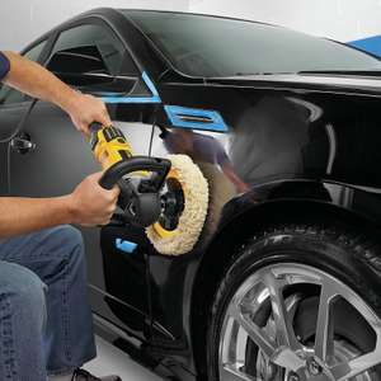 DeWalt 150 & 180mm Poliergerät (var. Geschwindigkeit, leise & vibrationsarm, + Gummischleifteller, Seitenzusatzhandgriff, 2x Polierhauben)