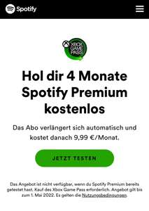[Xbox Game Pass Ultimate] 4 Monate kostenlos Spotify Premium (Neukunden)