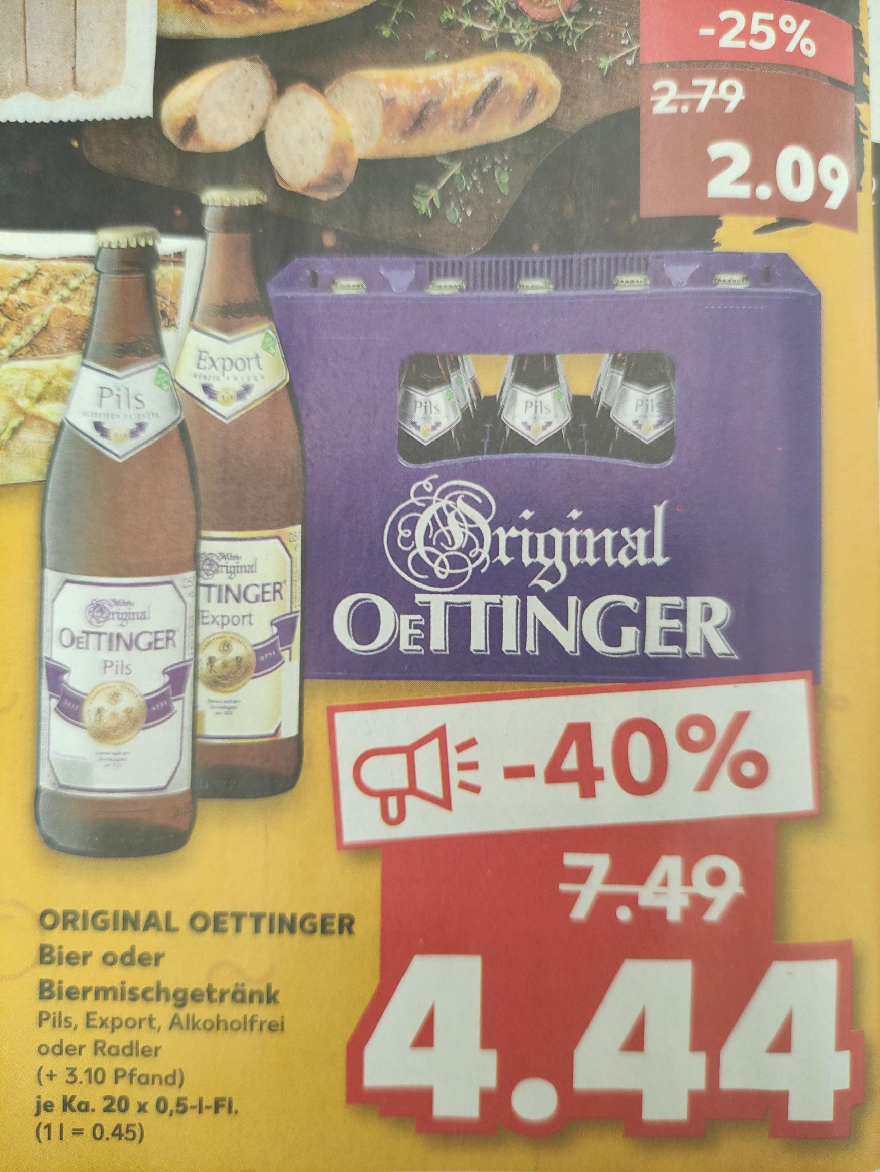 [Lokal Hannover/Umgebung] 1 Kasten Oettinger Bier Pils, Export, Alkoholfrei oder Radler (20 x 0,5 L) zzgl. 3,10 € Pfand