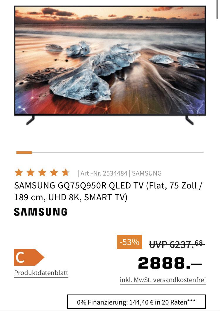 """Samsung 75"""" 8K Fernseher GQ75Q950R"""
