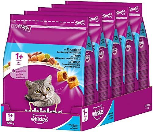 Amazon Prime: 5x 800 Gramm Whiskas Katzenfutter, Trockenfutter mit Thunfisch für Katzen ab 1 Jahr