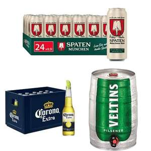 (Amazon Prime) Vatertagsgeschenk 24x500ml Dosen oder Flaschen Bier stark reduziert, z.B Löwenbräu, Corona, Spaten, Veltins, Becks