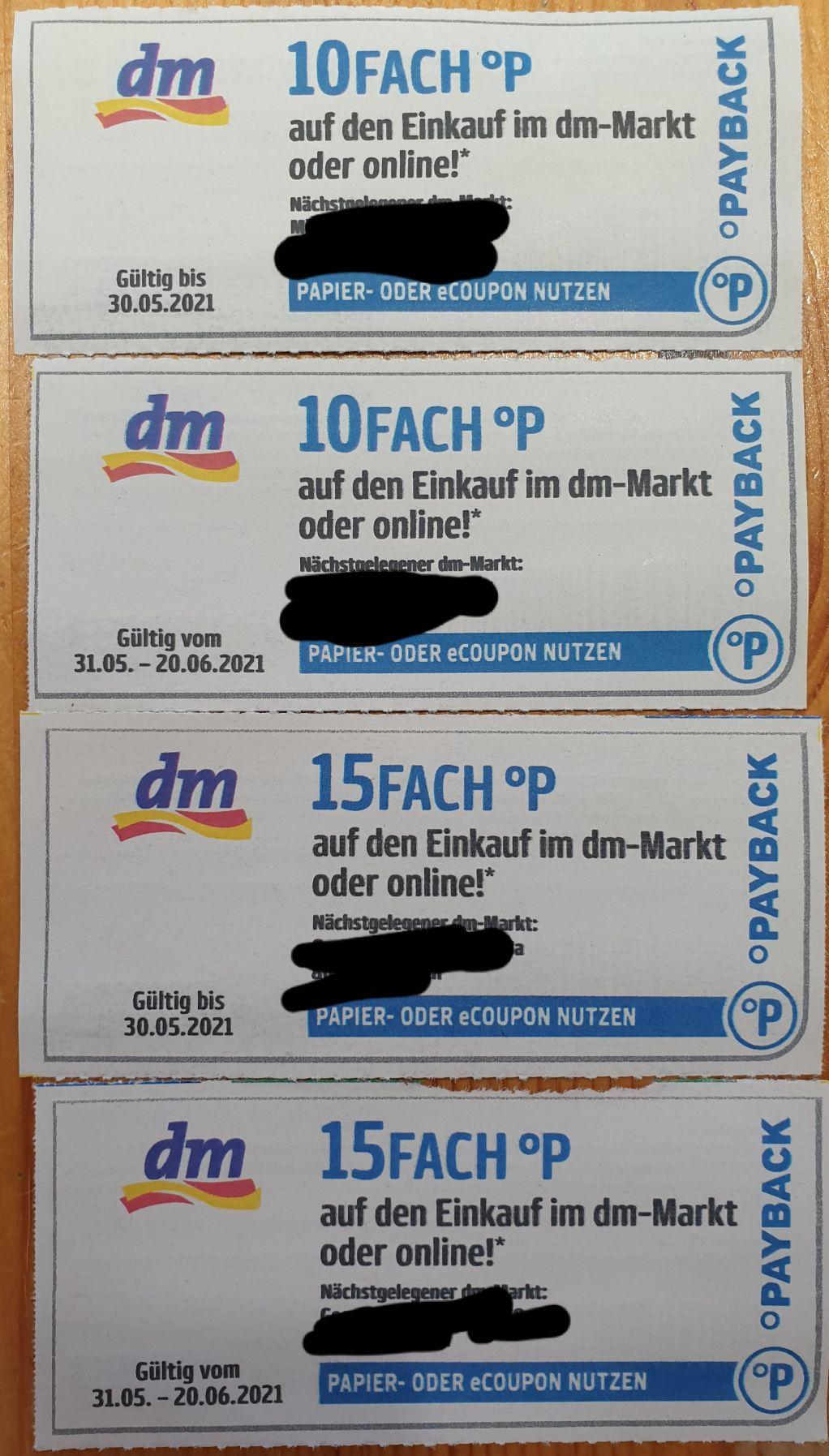 DM Payback 10 und 15 Fach Punkt auf den Einkauf bei DM