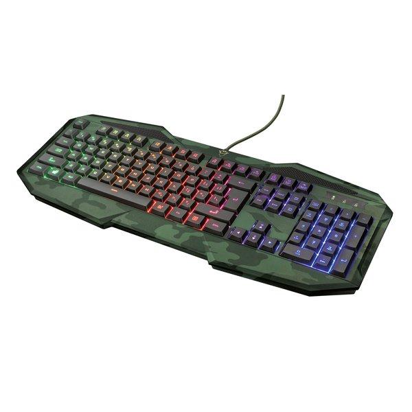 Trust Gaming GXT 830 RW-C Avonn Camo Gaming Tastatur ( RGB, USB, deutsches Layout, Regenbogenwellen-Beleuchtung, 12 Media-Tasten )