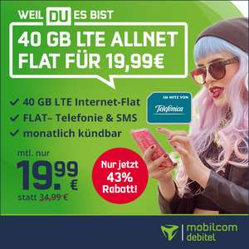 [mtl. kündbar] 40GB LTE (225 Mbit/s) Tarif von mobilcom-debitel für 19,99€ / Monat + 9,99€ AG (VoLTE, WLAN Call, Telefonica-Netz)