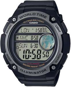 Casio Collection Digitaluhr (Kalender, LED-Beleuchtung, Alarm, Weltzeituhr, Countdown-Timer, Stoppfunktion, wasserdicht bis 10 bar)
