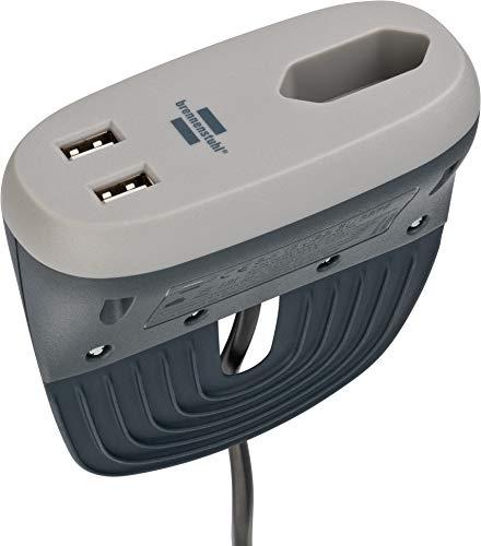 Brennenstuhl estilo Sofa-Steckdose mit USB-Ladefunktion (Möbel-Steckdose mit 1x Euro-Steckdose und 2x USB-Charger), Anthrazit/Grau (Prime)