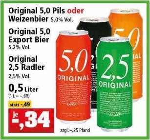 5,0 Original Pils, Weizenbier, Export Bier und 2,5 Original Radler für 34 Cent [Thomas Philipps] / Pils oder Export für 39 Cent [Zimmermann]
