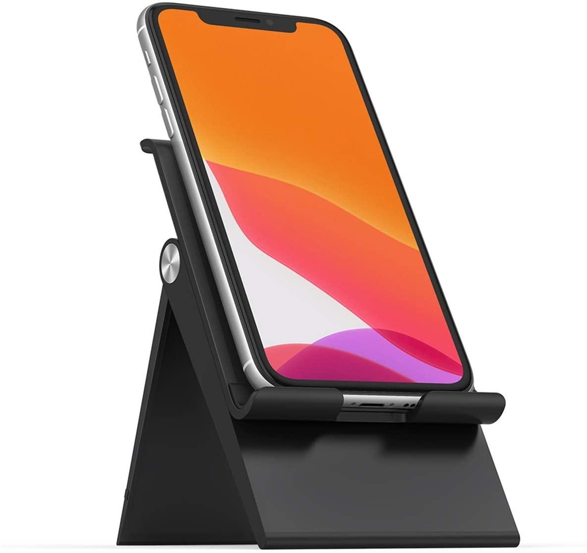 [Prime] Ugreen 80903 Handyhalterung (für Geräte bis 12mm Dicke, Winkel & Höhe verstellbar, Gummidämpfung, zusammenklappbar)