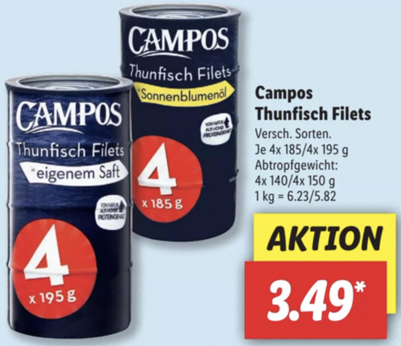 Campos Thunfisch Filets 4 Dosen für 3,49€ (entspricht rd. 87 Cent je Dose)