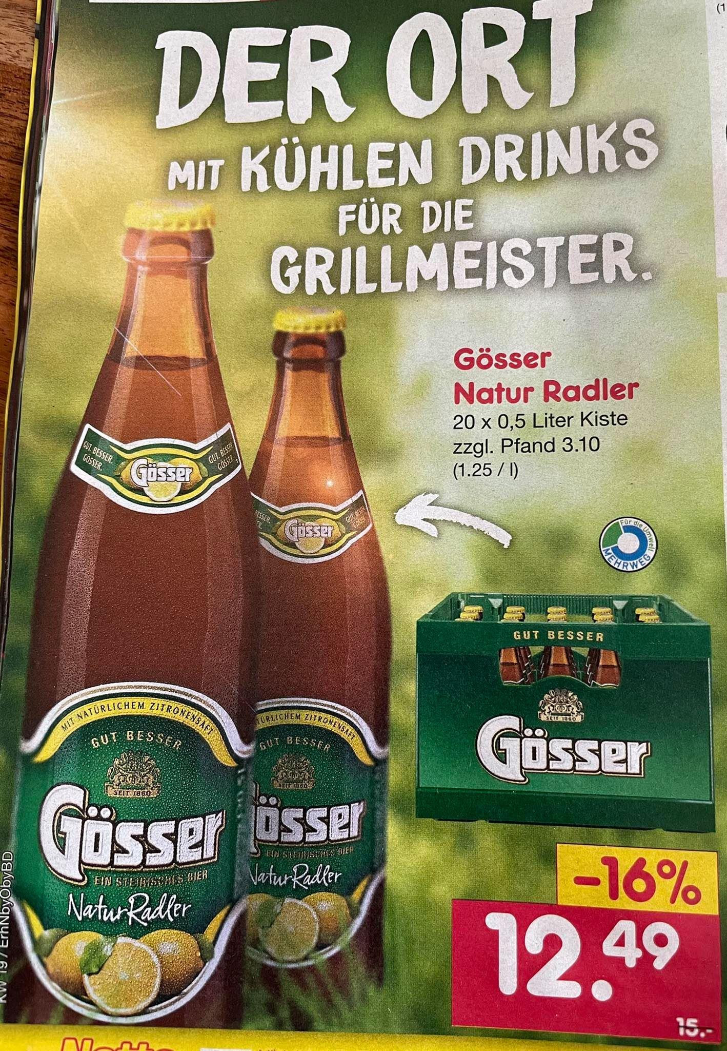 Gösser Natur Radler, 20 x 0,5l für 12,49€ (zzgl 3,10€/Kasten Pfand) [Netto Marken-Discount + Edeka Südbayern]