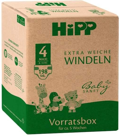 25%Rabatt auf HiPP Windeln Vorratsboxen, z.B. Gr. 4 (198 Stück) für 31,42€ (0,16 pro Stück), Gr. 1 für 0,12€, Gr. 2 und 3 für 0,14€