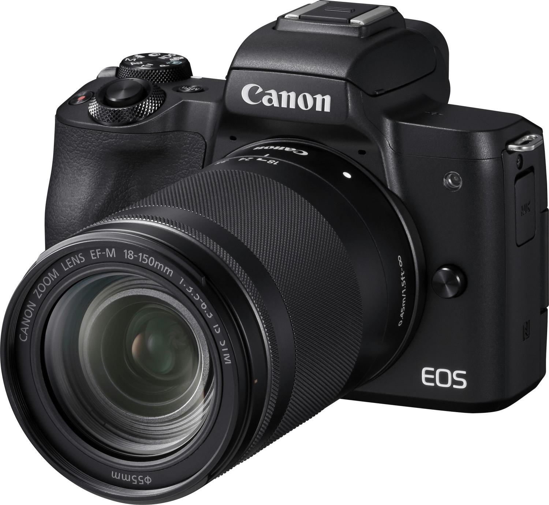 Canon EOS M50 Systemkamera + EF-M 18-150mm 3.5-6.3 IS STM Kit Objektiv (schwarz/weiß)