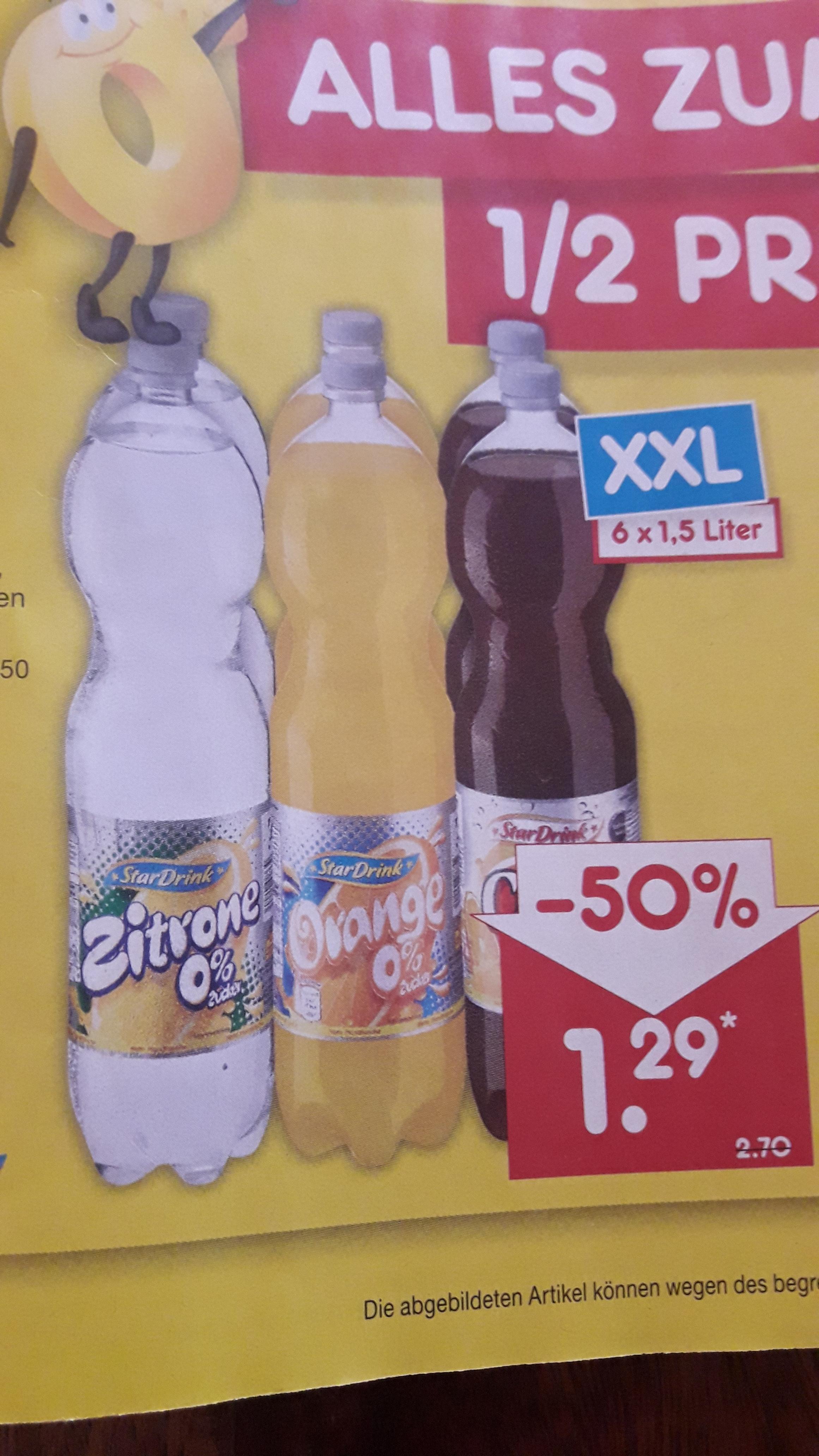 Netto MD: 50 % auf alle Sechser Pack der Eigenmarke Stardrink 0 % Zucker je 6 x 1,5 Liter Flasche Cola , Orange und Zitrone excl. Pfand