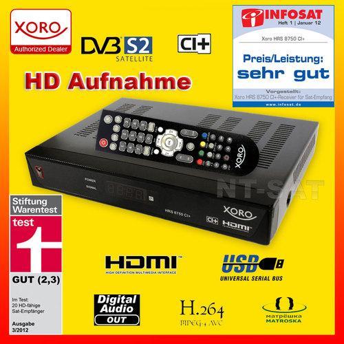 DVB-S2 Sat Receiver XORO HRS 8750 CI+ FullHD samt PVR für unter 50Euro @ebay