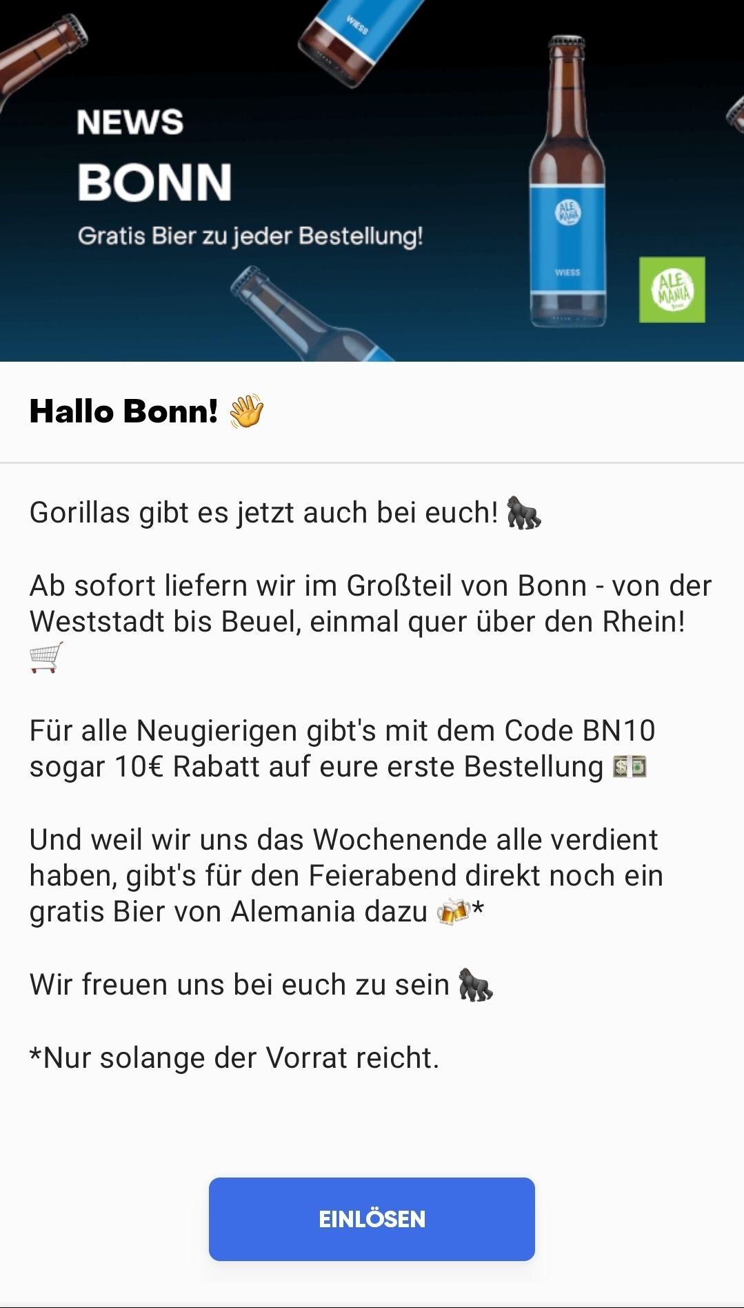 Gorillas startet auch in Bonn mit 10 € Gutschein