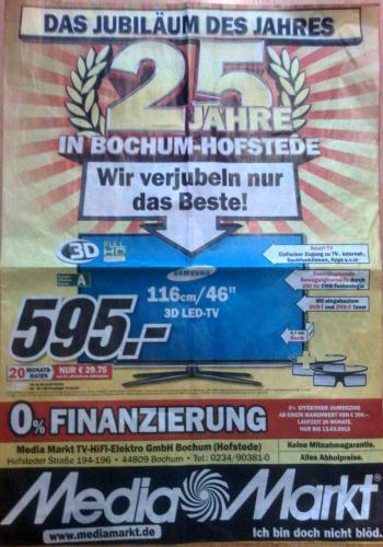 [Lokal Bochum] Samsung UE 46 ES 6100 für 595,- EUR (bis zum 13.03.2013) Media Markt Bochum-Hofsted