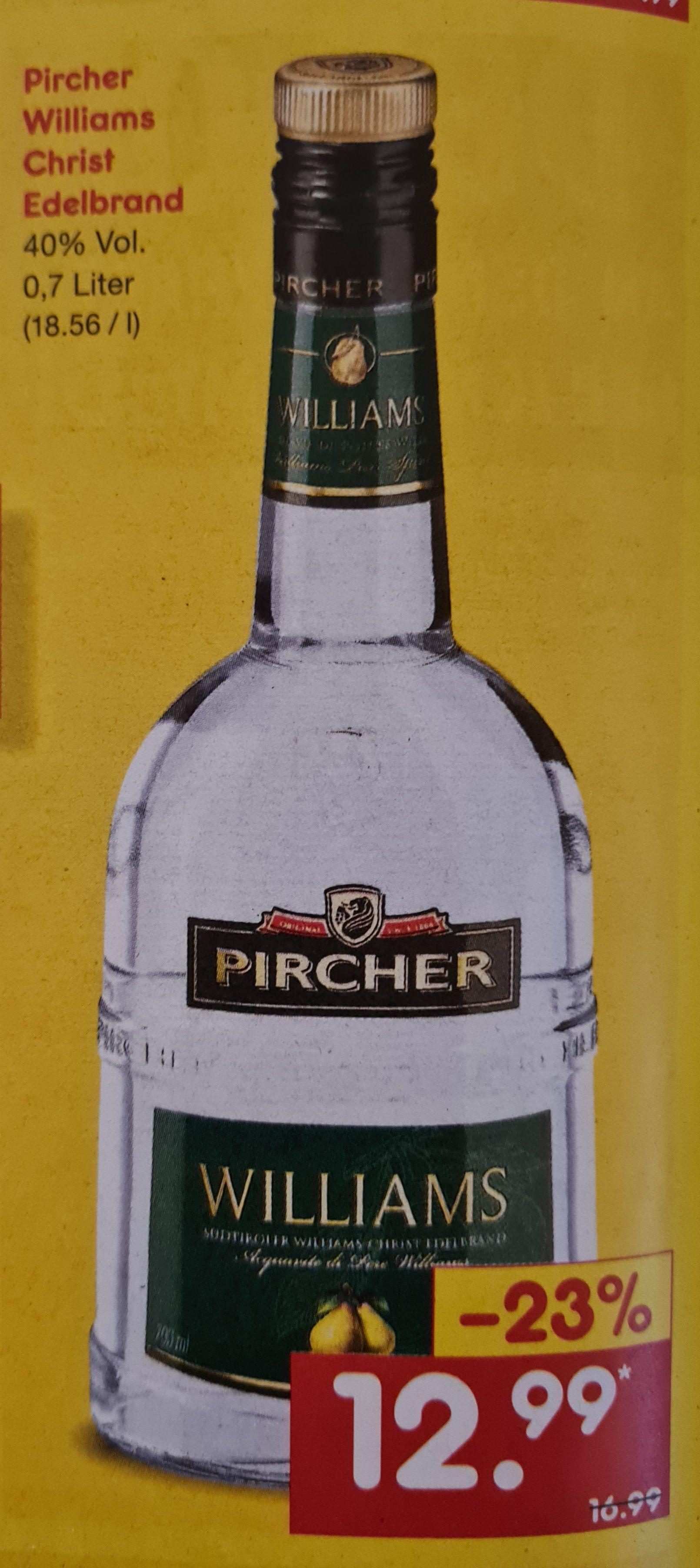 Pircher Williams Christ Edelbrand 40% 0,7 l für 12,99€ statt 16,99€ UND Jägermeister 35% 0,7 l für 10,49€ statt 11,99€ ab 10.05 im Netto MD