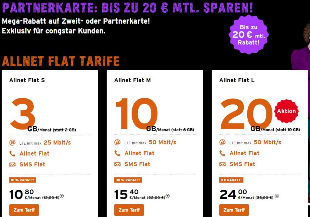 [Congstar-Kunden] Partnerkarte Aktion z.B. 8GB/15,40€ o. 20GB/24,00€