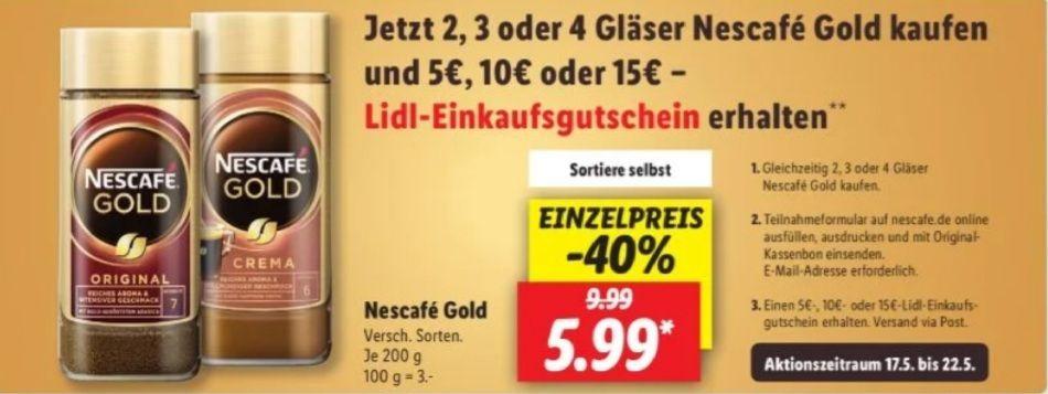 Nescafe Gold 200g-Glas Gutscheinaktion [Lidl]