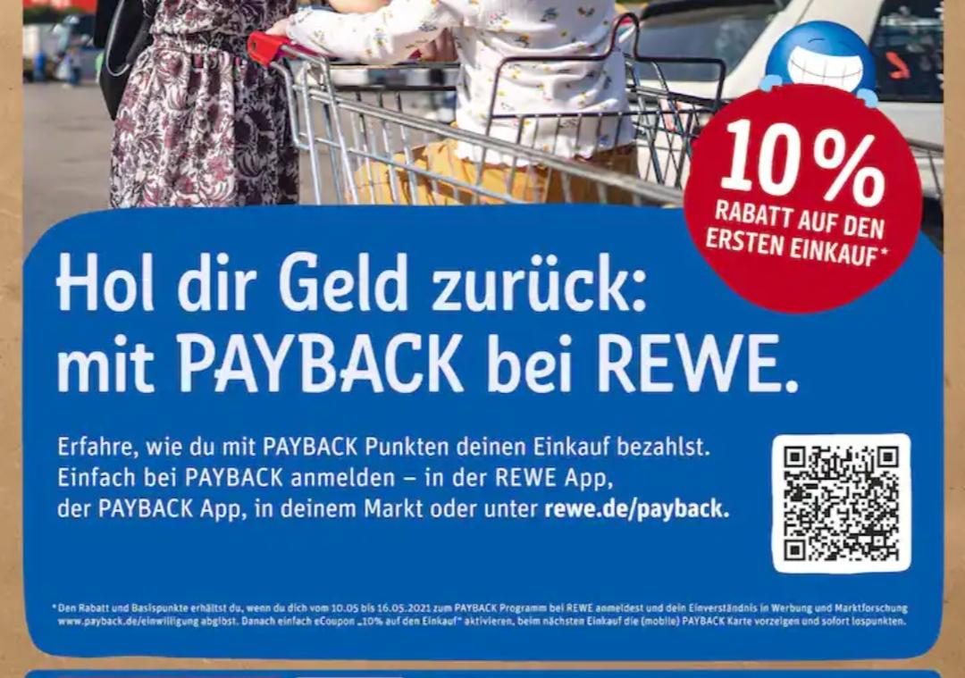 [Rewe - Payback Neukunde] 10% Rabatt auf den ersten Einkauf als Payback