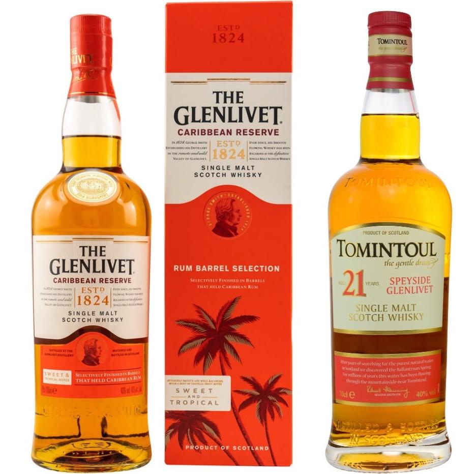 Whisky-Übersicht #88: z.B. Glenlivet Caribbean Reserve Single Malt für 34,90€, Tomintoul 21 Jahre Single Malt für 98,45€ inkl. Versand